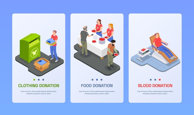 Insieme isometrico di volontariato di donazione di beneficenza dell'illustrazione delle bandiere verticali