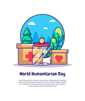 Charity and donation for world humanitarian day cartoon vector illustrations. world humanitarian day icon concept isolated premium vector