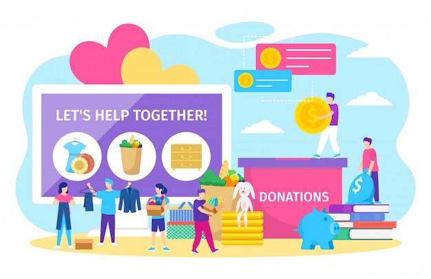 Charity donations , cartoon tiny people donate box full of clothes or toys, coins in piggy bank on white