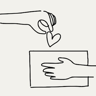 Mano di vettore di scarabocchio di carità che dà cuore/denaro, concetto di donazione