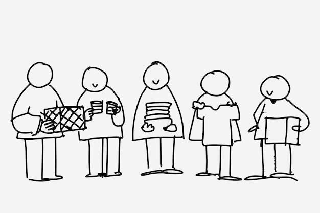 Vettore di doodle di beneficenza, persone che donano cose