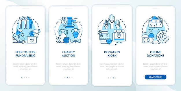 Charity event ideas onboarding mobile app page screen. charitable sales walkthrough 4 steps graphic instructions with concepts. ui, ux, gui vector template with linear color illustrations