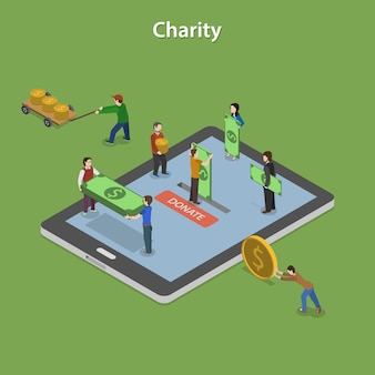 Charity flat isometric vector concept.