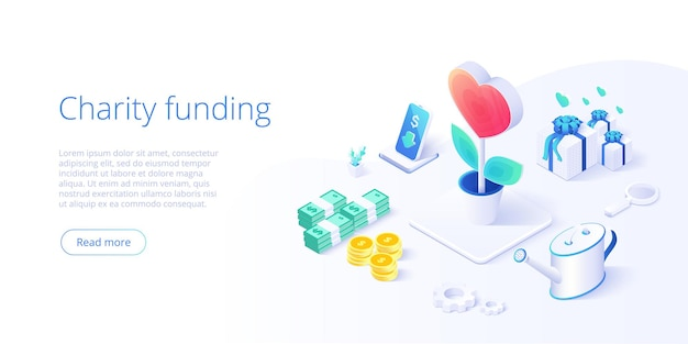 Charity fund or care in isometric  concept. volunteer community or donation metaphor. web banner layout for people help or support,