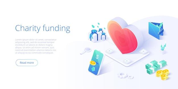 Благотворительный фонд или забота в изометрической концепции
