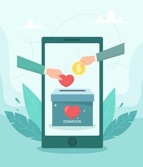 자선 기금 모금 응용 프로그램 개념. 하트와 동전 아이콘이있는 기부 모바일 앱 인터페이스. 플랫 스타일의 그림.