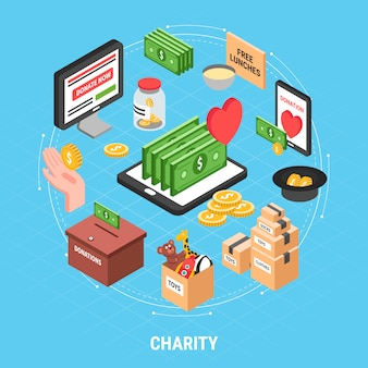 Charity isometric design concept with dollar bills carton of clothes and box for collecting donations vector illustration
