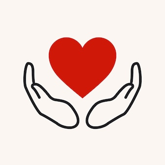 Charity logo, hands supporting heart icon flat design vector illustration