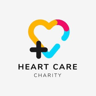 Modello di logo di beneficenza, vettore di design del marchio senza scopo di lucro