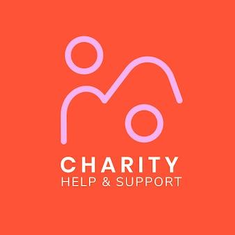 Modello di logo di beneficenza, vettore di progettazione del marchio senza scopo di lucro, testo di aiuto e supporto