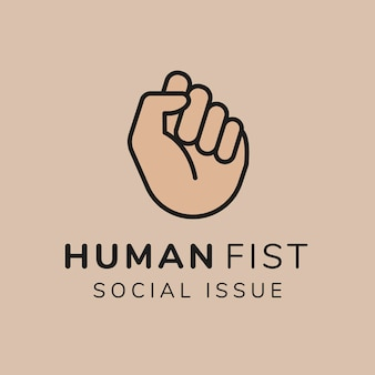 Charity logo template, non-profit branding design vector, human fist social issue text