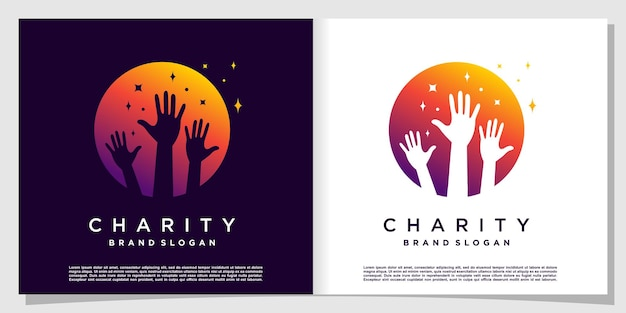 Charity logo with circle and star concept premium vector
