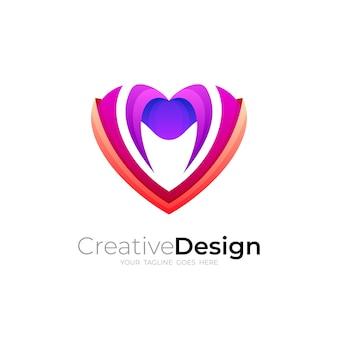愛のデザインテンプレート、ソーシャルアイコンイラストとチャリティーロゴ Premiumベクター