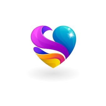 Логотип благотворительности с сообществом социального дизайна, сердечками