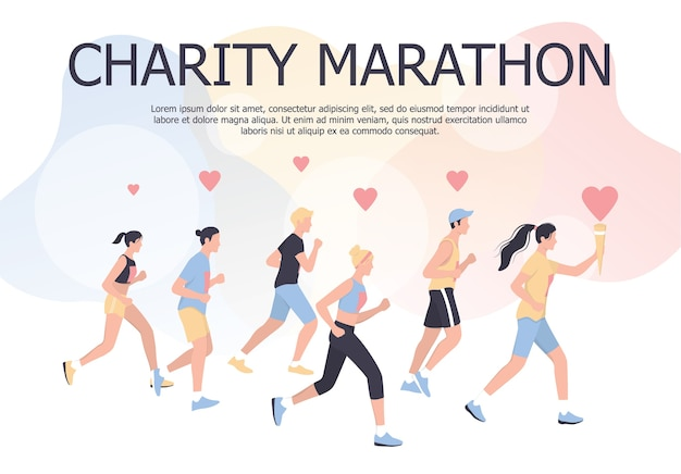 チャリティーマラソンポスターのコンセプトです。人々は慈善のためにマラソンを走ります。福利厚生や健康サポートのためにジョギングしている男女。図
