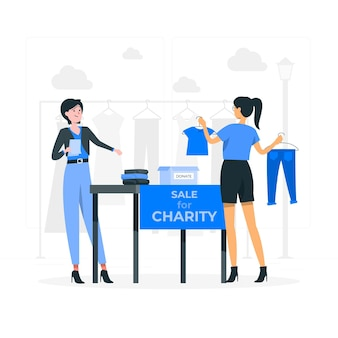 Charity market concept illustration