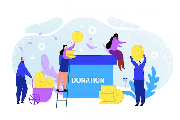 자선 돈 기부 개념, 기부 도움말 그림. 사람들의 성격은 보살핌을 위해 지역 사회 재정을 제공합니다. 사회 동전 지원 배너, 자원 봉사자 공유 만화 기금.