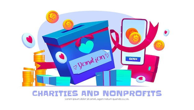 Charity and nonprofit organization cartoon banner