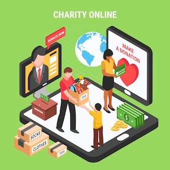 Charity online isometric composition with volunteers conducting donation drive for children and needy people