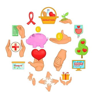Charity organization icons set, cartoon style