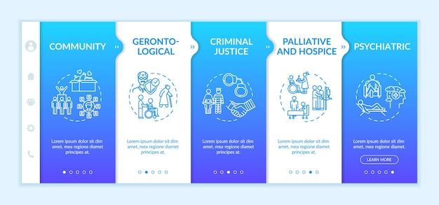 Шаблон вектора адаптации благотворительной организации. уголовное правосудие. геронтологическая помощь. помощь пациентам в хосписе. адаптивный мобильный сайт с иконками. экраны пошагового просмотра веб-страниц. цветовая концепция rgb