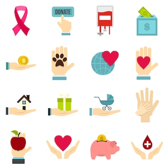 Charity set flat icons