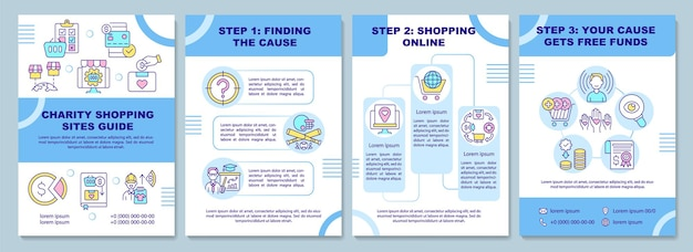 Charity shopping sites guide brochure template. collecting cause.