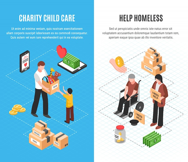 Charity two vertical banners with child care and help homeless