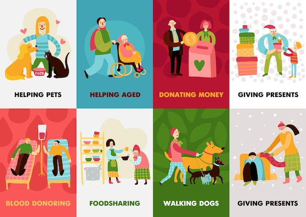 Charity types cards set with giving presents walking dogs blood donoring helping aged compositions