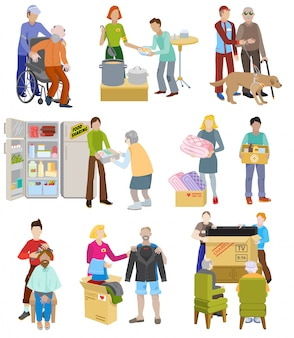 Charity vector volunteer people caring elderly disabled or blind characters and volunteering donation