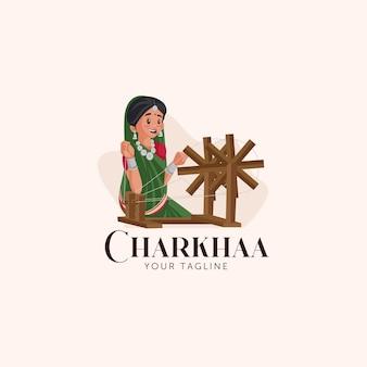 Charkhaa indian vector mascot logo template Premium Vector