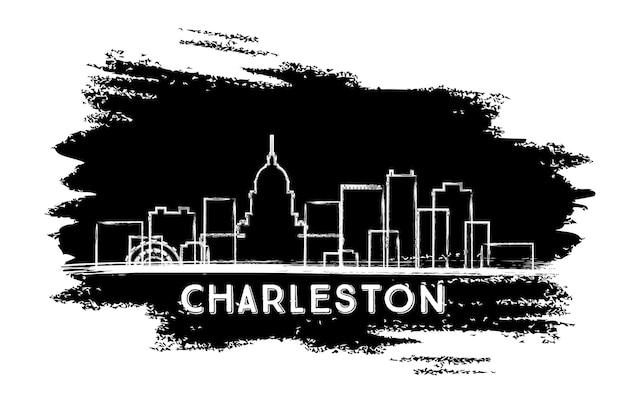 Силуэт горизонта города чарлстон западной вирджинии. рисованный эскиз. векторные иллюстрации. деловые поездки и концепция туризма с исторической архитектурой. городской пейзаж чарлстона с достопримечательностями.