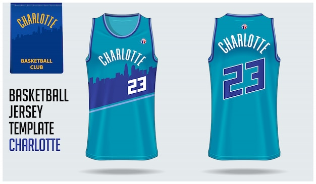 Charlotte basketball jersey template design