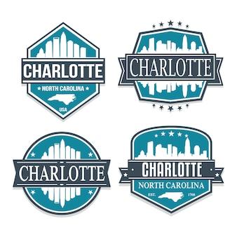 シャーロットノースキャロライン旅行とビジネスのスタンプデザインのセット