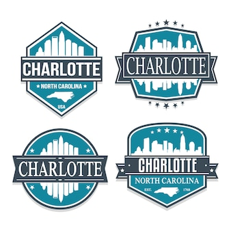 Charlotte north caroline set of travel and business stamp designs