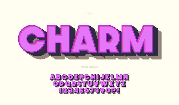 매력 글꼴 3d 대담한 스타일. 트렌디 한 알파벳과 숫자