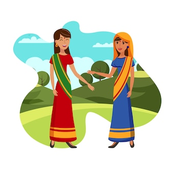 Charming girlfriends from india flat illustration