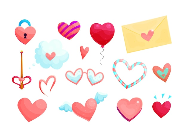 Charming pink hearts cartoon illustrations set.