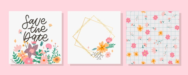 Charming save the date lovely spring concept card awesome flowers and birds made in watercolor techn...