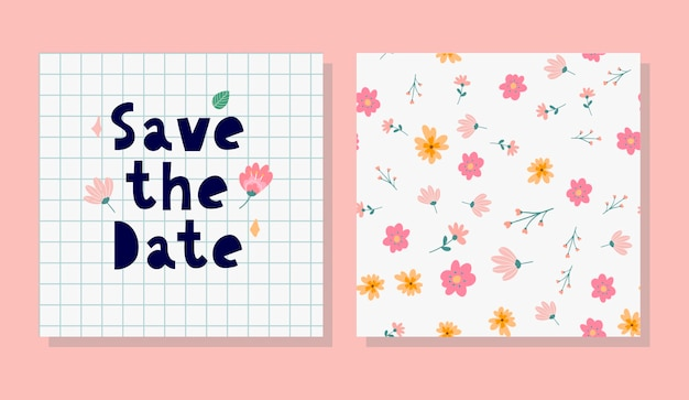 Charming save the date lovely spring concept card awesome flowers and birds made in watercolor