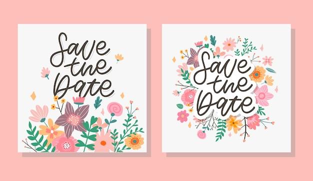 매력적인 날짜 저장 사랑스러운 봄 컨셉 카드 수채화 기술로 만든 멋진 꽃과 새...