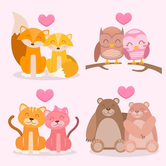 Charming valentine's day animal couple