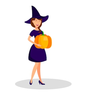 Charming witch holding pumpkin vector illustration