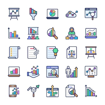 Chart analysis flat icons set