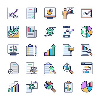 Chart analysis flat vectors pack