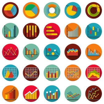 Chart diagram icon set, flat style