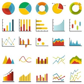 Chart diagram icon set isolated