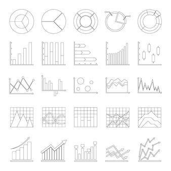 Chart diagram icon set
