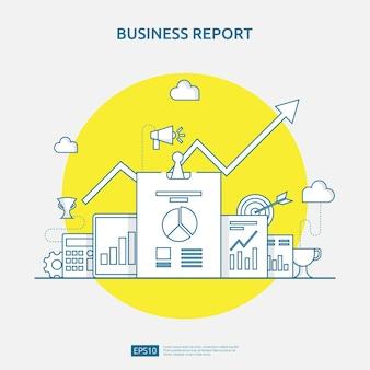 紙のシート、手、拡大鏡、事務処理、チャート、グラフ要素を使用したビジネス統計、投資分析、計画調査、および会計監査会計のためのチャートドキュメントデータレポートの概念 Premiumベクター