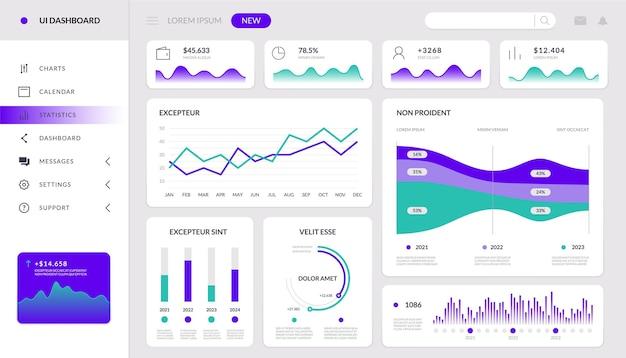 チャートのインフォグラフィック。財務ダッシュボードインタラクティブモックアップ、hud技術ウェブサイトテンプレート、管理データアプリ。ベクトルアプリケーションホログラフィックグラフダッシュボードモダングラフィックス